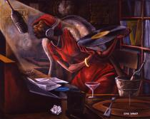 Ernie Barnes, Late Night DJ, 1980. Collection Ted Lange, California. © Ernie Barnes Family Trust