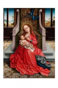 The Master of the Legend of St Catherine, The Virgin and Child enthroned, circa 1490 – 1495. Courtesy Sam Fogg.