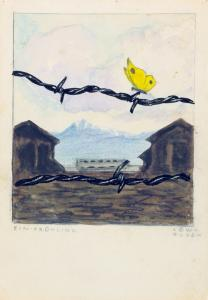 Karl Robert Bodek (1905–1942) and Kurt Conrad Löw (1914–1980), One Spring, Gurs Camp, 1941. Watercolor, India ink, and pencil on paper. Collection of the Yad Vashem Art Museum, Jerusalem. Gift of Annelies Haymann, Kiryat Bialik, Israel