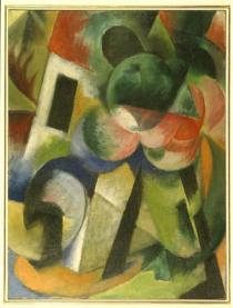Franz Marc, Kleine Komposition II (Haus mit B�umen), 1913/1914, Photo: Michael Herling / Aline Gwose, Courtesy Sprengel Museum Hannover