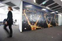 Wallpaper by Dayanita Singh in the Deutsche Bank Towers, Frankfurt. � Dayanita Singh, Courtesy of the artist and Frith Street Gallery, London, Photo: Frank Marburger & Klaus Helbig