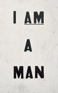 Glenn Ligon, Untitled (I Am a Man), 1988. Collection of the artist. Courtesy of the artist and Regen Projects, Los Angeles. © Glenn Ligon. Photograph by Ronald Amstutz