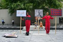 Xaviera Simmons, An Archive as Impetus (Not on View) performance in MoMA's Abby Aldrich Rockefeller Sculpture Garden. Photo: Martin Seck
