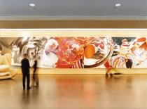 James Rosenquist's monumental painting 'The Swimmer in the Econo-mist' in the entrance hall of Winchester House, Deutsche Bank's London head office.