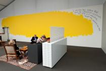 �The Yellow Blob Story�, a wall piece by Nedko Solakov at the Deutsche Bank Lounge. Photo: Marc Schlossman