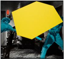 John Baldessari, Blockage (Yellow): With Two Persons Fighting (Blue), 2004. Private Collection, Belgium. Courtesy Marian Goodman Gallery New York and Paris