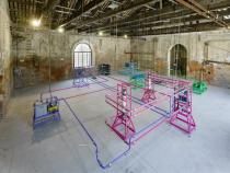 Ayse Erkmen, Plan B, 2011. Installation at the Pavilion of Turkey, 54th Biennale di Venezia. Water purification units with extended pipes and cables. Photo Roman Mensing / artdoc.de. Courtesy Galerie Barbara Weiss, Berlin and Rampa Istanbul