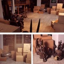 Brendan Fernandes, Unsettle, 2005. Site Speci�c Installation. Mixed Media (African Artefacts, Shipping Crates, Motorized Boxes, Dimensions Vary).Photo: Kim Clarke