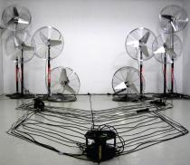 Idan Hayosh, AH64a display, 2006-9, Installation, Description: Audio amplified ventilators are turned on and off (when in peak).