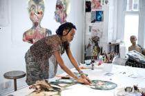 Wangechi Mutu in her studio, New York, 2009. Photo: Chris Sanders