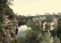 Aristide Antonas, Landscape with Crane Rooms and Keg Apartments, (Ubin Quarry in Singapore)