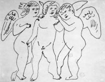 Andy Warhol, Three Nude Fairies With Wings, c. 1954, Copyright The Andy Warhol Foundation for the Visual Arts, INC.