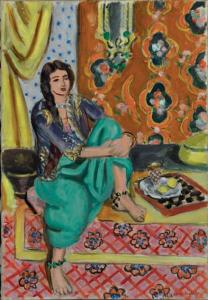 Henri Matisse. Seated Odalisque, Left Knee Bent, Ornamental Background and Checkerboard, 1928. Oil on canvas. The Baltimore Museum of Art: The  Cone Collection, formed by Dr. Claribel Cone and Miss Etta Cone of Baltimore, Maryland, BMA 1950.255.  �2011 Succession H. Matisse/Artists Rights Society (ARS), New York.