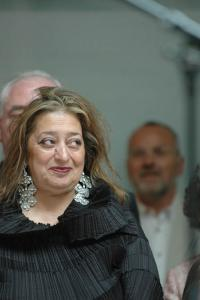 Zaha Hadid at the opening of �25�, the anniversary exhibition of the Deutsche Bank Collection at the Deutsche Guggenheim, Photo Mathias Schormann