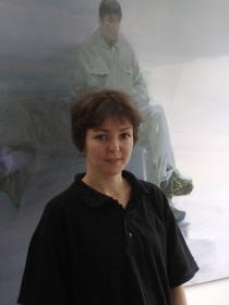 Radoslava Markova in her studio, Berlin summer 2013, Photo Oliver Koerner von Gustorf