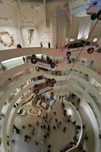 Cai Guo-Qiang, Inopportune: Stage One, 2004 Nine cars and sequenced multichannel light tubes. Seattle Art Museum, Exhibition copy installed at Solomon R. Guggenheim Museum, New York, 2008, © Solomon R. Guggenheim Foundation New York. Photo by David Heald