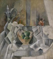 Pablo Picasso, Carafe, Jug and Fruit Bowl (Carafon, pot et compotier), Horta de Ebro, summer 1909. Solomon R. Guggenheim Museum, New York, Solomon R. Guggenheim Founding Collection