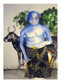 Bhupen Khakhar, cow and man, 1985. Deutsche Bank Collection