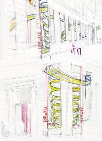 Luca Buvoli, Sketch for Deutsche Guggenheim Project, 2009, Courtesy Luca Buvoli