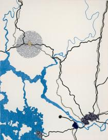 Tiffany Chung, Kaesong Armistice Conference Site 1951, 2010, Embroidery,  Courtesy of the artist and Tyler Rollins Fine Arts