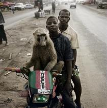 "Pieter Hugo, EMEKA, MOTORCYCLIST AND ABDULLAHI AHMADU, ASABA, NIGERIA, from ""THE HYENA & OTHER MEN"", 2005-2007.