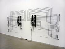 Alberto Tadiello, EPROM, 2008. 48 music boxes, electric motors, transformers, cabling. Courtesy T293, Naples