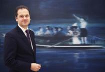 St�del Director Max Hollein in front of Gerhard Richter�s �Kahnfahrt� from the Deutsche Bank Collection. Photo Athanasios Karanikolas