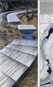 Christo, Over the River (Project for Arkansas River, State of Colorado), Drawing 2010 in two parts
