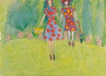 Nelly Toll (b. 1935), Girls in the Field, Lvov, 1943. Gouache and pencil on paper. Collection of the Yad Vashem Art Museum, Jerusalem. Gift of the artist