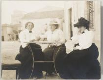 Claribel Cone, Gertrude Stein, and Etta Cone sitting at a table in Settignano, Italy, June 26, 1903. The Baltimore Museum of Art: Dr. Claribel and Miss Etta Cone Papers, Archives and Manuscripts Collections