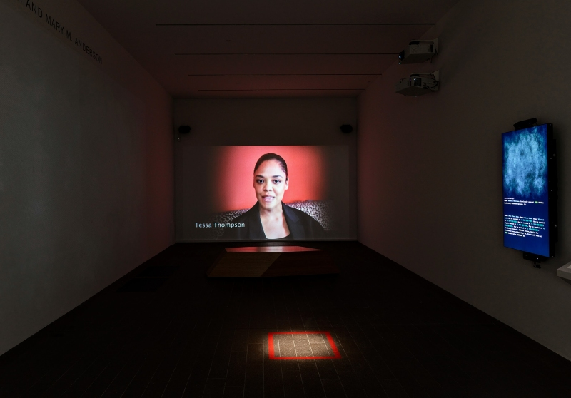 Lynn Hershman Leeson, Shadow Stalker, 2019, installation view, de Young museum, 2020. Image provided courtesy of the Fine Arts Museums of San Francisco