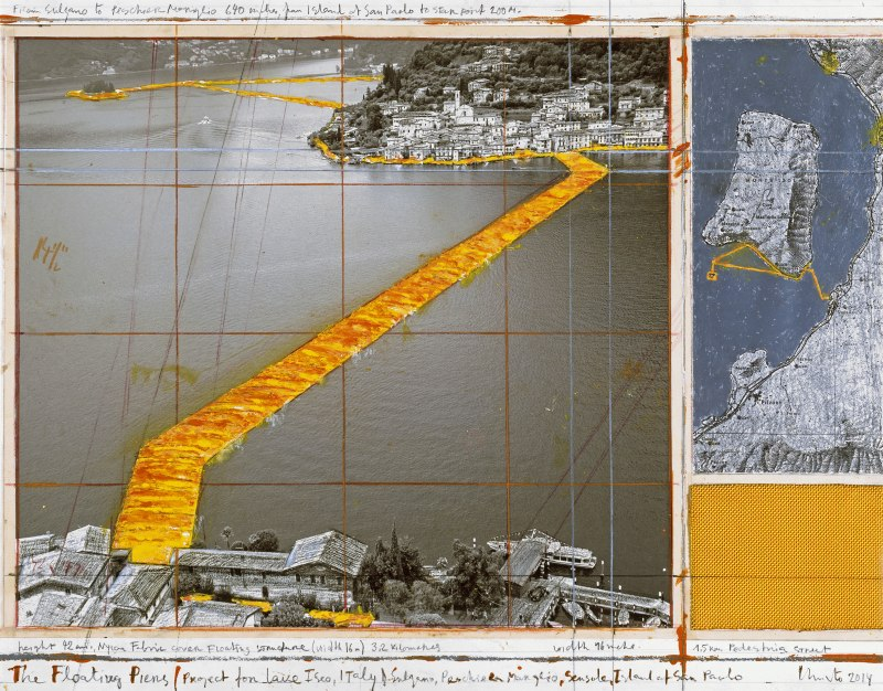 Christo, The Floating Piers (Project for Lake Iseo, Italy), collage, 2014. Photo: André Grossmann. © Christo